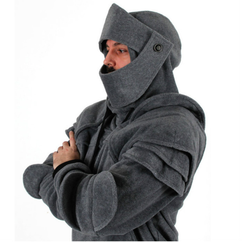 Retro men Pulling Rope Mask Knight Hoodies Autumn Winter men's Solid Color Elbow guard warm Pullover Casual Long Sleeve Hoodies