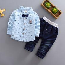 ea43891c9 Los niños de algodón de las muchachas de los muchachos conjuntos de ropa de  bebé de dibujos animados gato corbata camisa pantalo.
