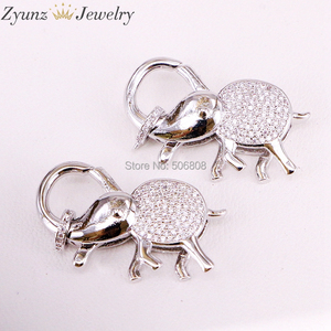 Image 5 - 5PCS ZYZ324 9747 CZ Micro Pave Elephant Lobster Claw Clasp, Cubic Zirconia Pave elephant Connector/Clasp/link, in Mix Colors