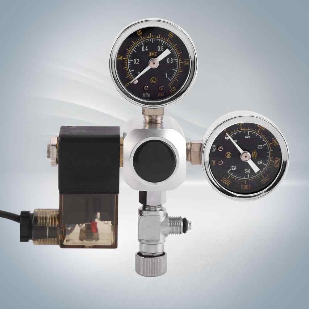 الحوض Co2 الجهد الحد الملف اللولبي صمام الحوض نظام المقياس المزدوج CO2 منظم ضغط فقاعة مكافحة