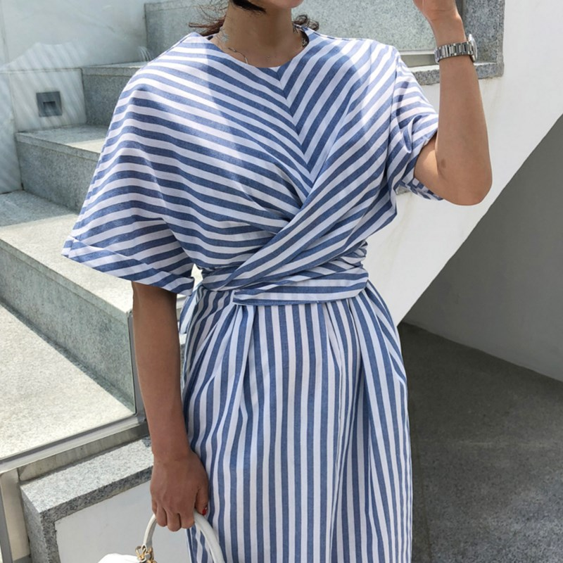 Korean Women Summer Cotton Blue Striped Long Dress Female Long Warp Bandage Split Dress in Dresses from Women 39 s Clothing