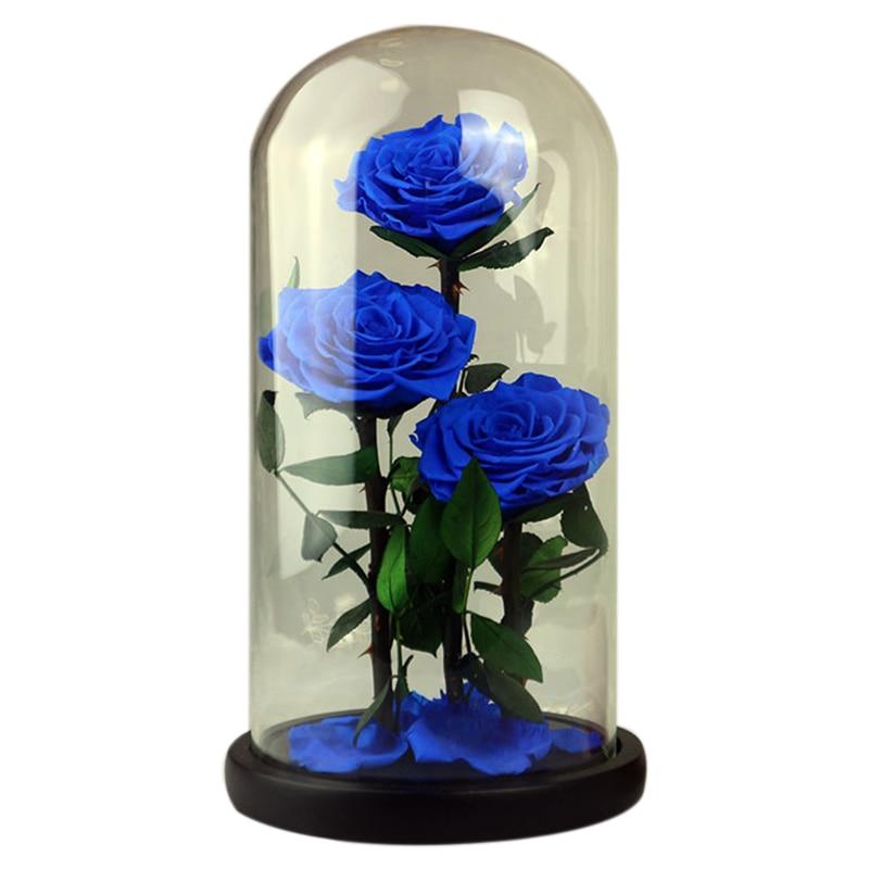 Fleurs éternelles fleurs séchées conservées fleur bleue fraîche Live Rose verre dôme boîte cadeau bleu