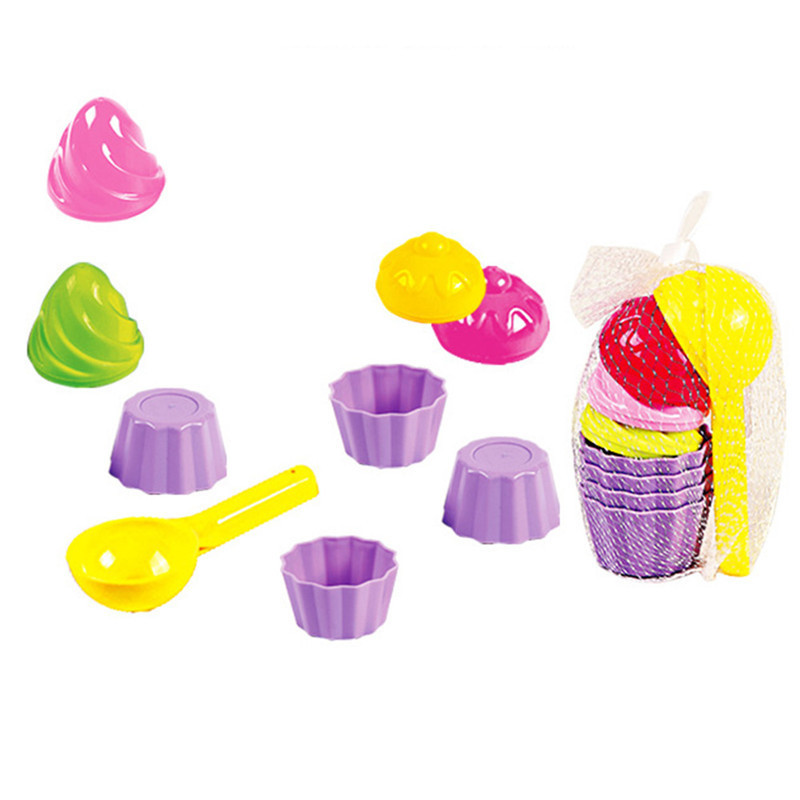 9Pcs/Set Kids Baby Beach Sand Toys Small Cake Mould Spoon Ice Cream Pudding Beach Sand Bathing Play Children Outdoor Play