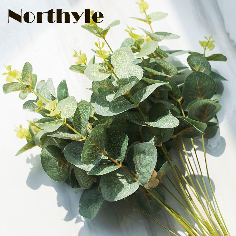 2 PCS / sklop 4 Podružnice Umetno zelenje Evkaliptus Dodatki za dekoracijo doma Listni listi Zelene rastline Lažna trava Plastični cvet