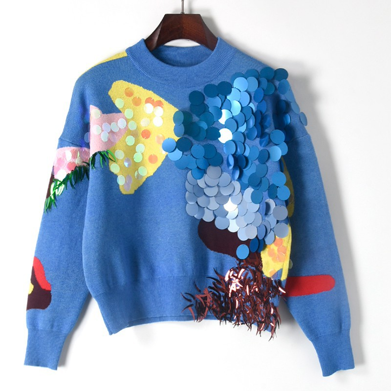 dca59691d3e20 US $28.61 19% OFF|Handmade Beaded Crew Neck Sweater Fashion Contrast Colors  3D Pattern Custom Sequins Cute Sweater Womens Sweaters Jumper Pullover-in  ...
