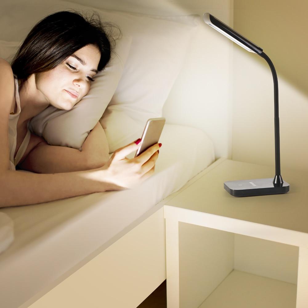 BRILEX Desk Lamp Flexible LED bedside Lamp Touch Control 3 Modes Book Light Adjustable Grow Light Black Table Lamp For Bedroom