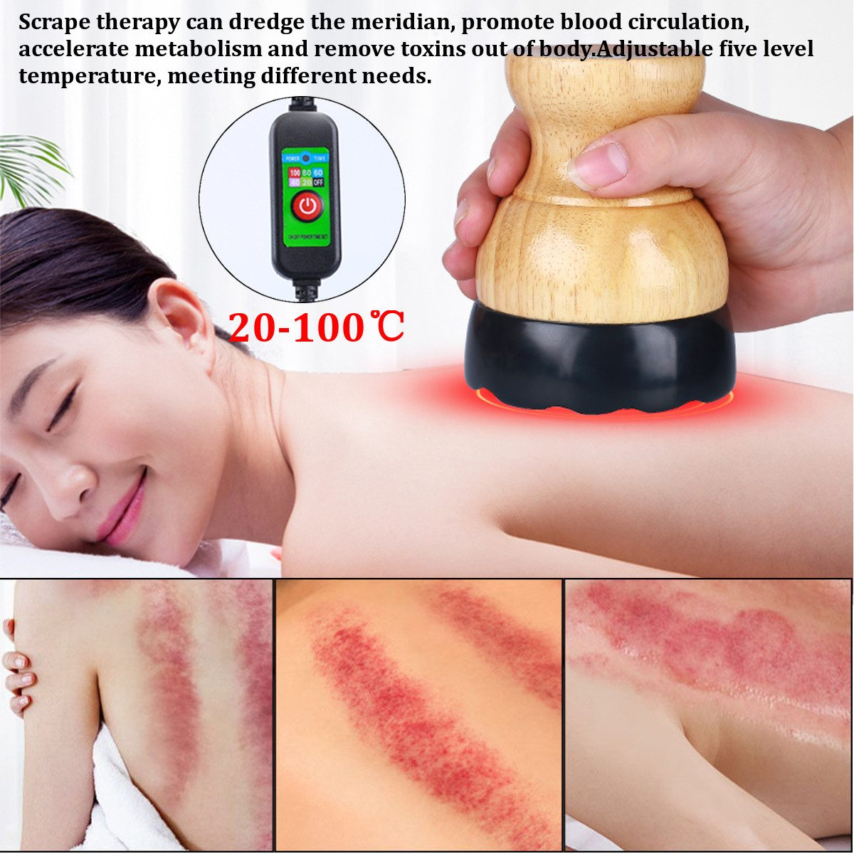 Electric Cupping Stimulate Acupoint Detoxification Massager Guasha Scraping Heat Massage Negative Pressure Acupuncture Therapy