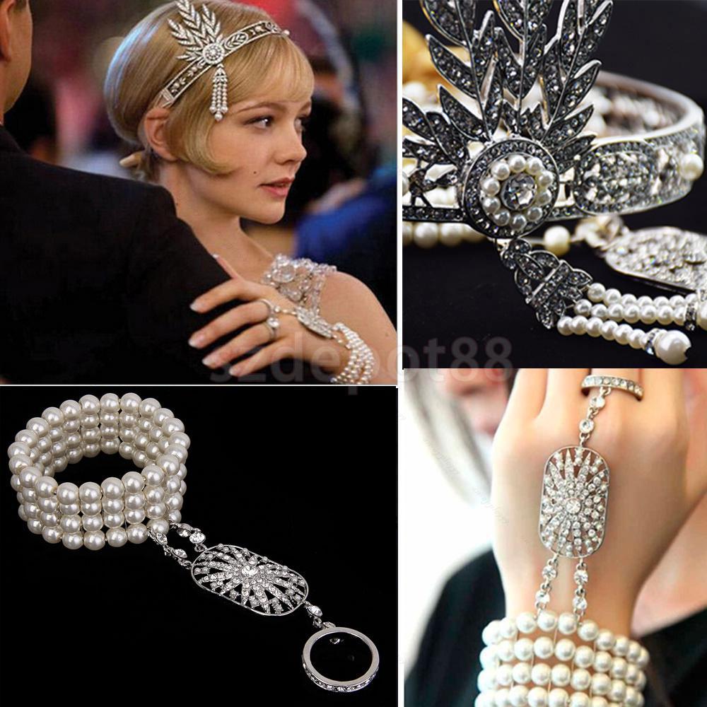 1920s Vintage Great Gatsby Flapper Headbands Bracelet Ring Set 2018 new women sexy vintage 1920s gatsby sequin v neck embellished fringed flapper cocktail wedding dress