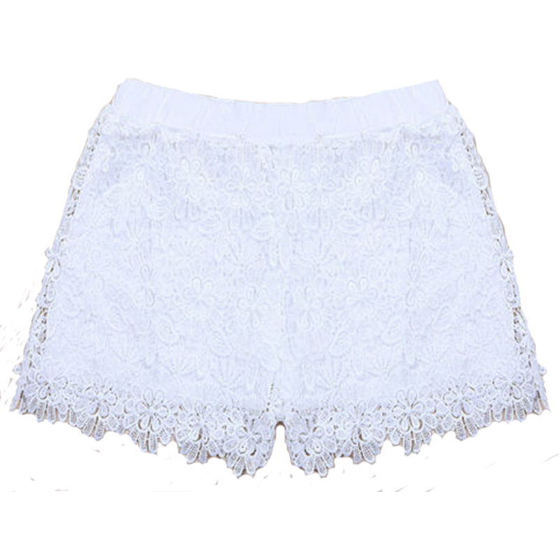 Woman Summer Lace Floral Shorts Summer New Ladies Mini Mesh Lace Crochet Flower Tiered Women Short Pants Summer Clothing
