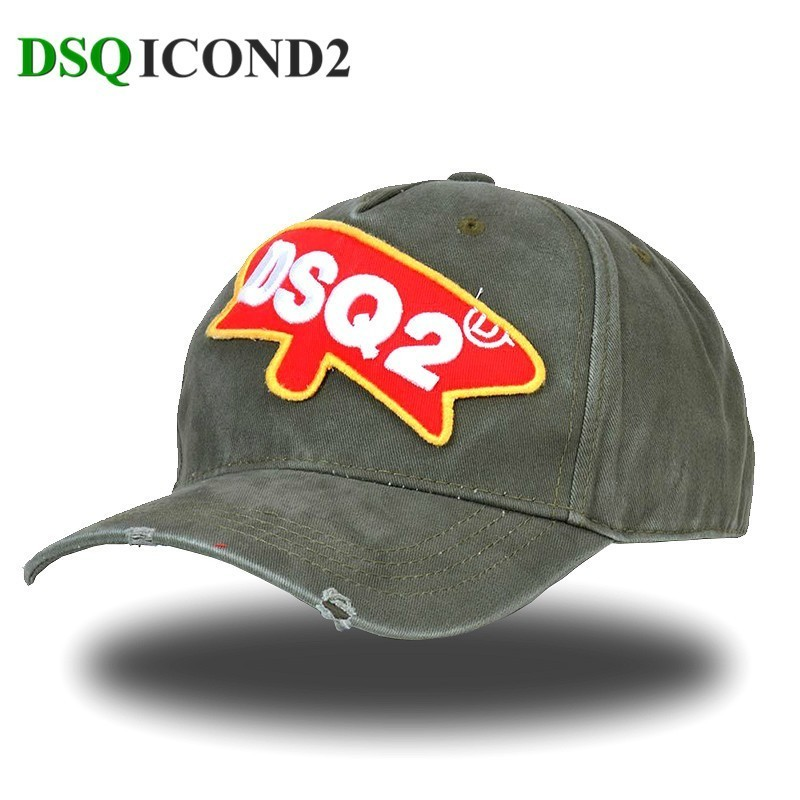 Dsqicond2 Hip-Hop Hat Women Baseball-Caps Embroidery-Pattern Armygreen Branded Adjustable