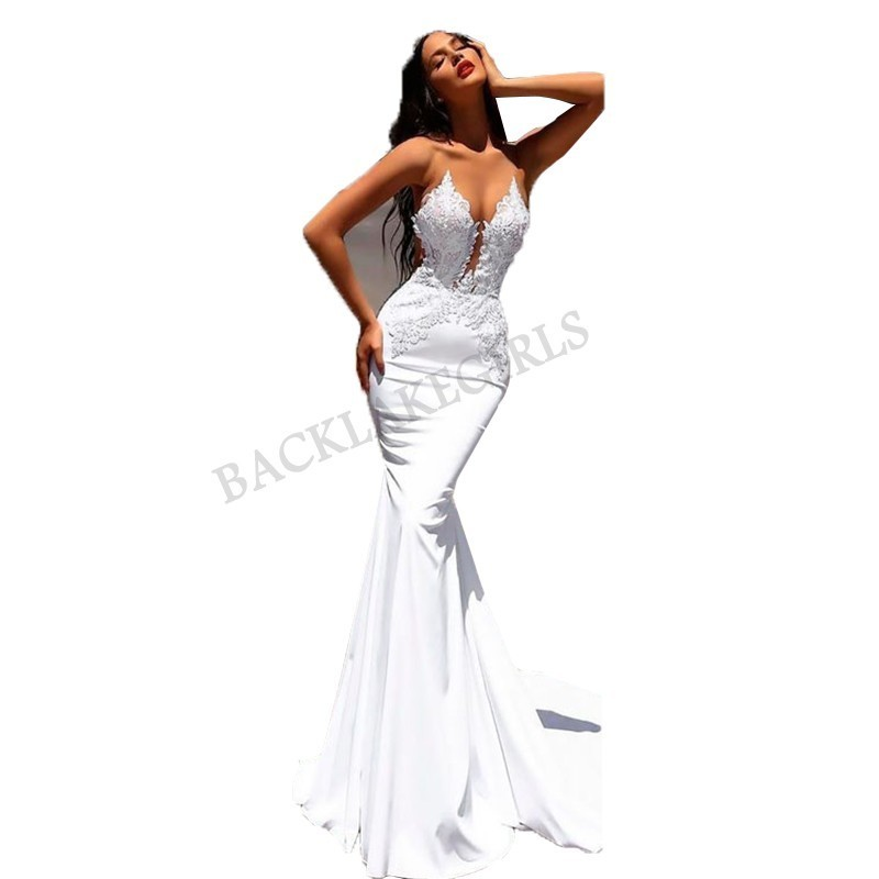 2019 White Mermaid Lace Wedding Dresses 2019 Trumpet Train Illusion Bridal Gown Dress Floor Length Sexy Wedding Party Gowns