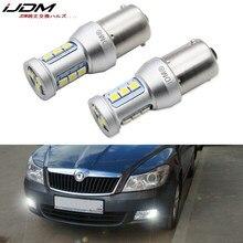 Ijdm carro 12v 1156 led canbus obc s25 ba15s p21w lâmpada led para skoda superb octavia 2 fl 2011 2012 2013 luzes diurnas drl