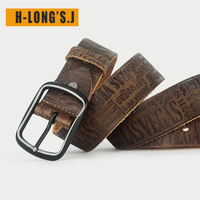 H Long'S.J Authentic First Layer Cowhide Men's Belt Pure Leather Men's Leather Belt Pin Buckle Retro Fashion Young And Middle ag