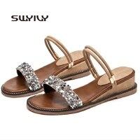 SWYIVY Shoes Sandals Women Crystal Summer Shoes 2019Black/beige/green Sandals Rhinestone Casual Shoes Fashion Female Footwear