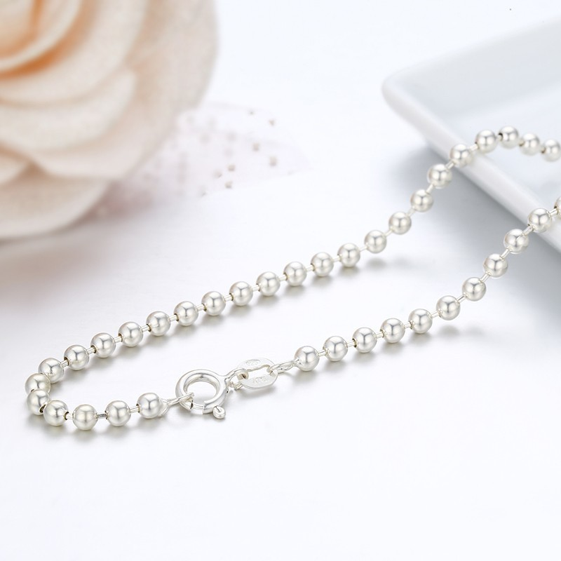 """16 """"-32"""" Echt Reine 925 Sterling Silber Perlen Ketten Chocker Halskette Für Frauen Kinder Mädchen Männer Schmuck Kolye Colier Halskette 3mm"""