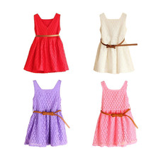 Kids  Lace Flower Girls Dresses+ Bow Waist Belt  For Formal Baby Girl Sleeveless Princess Wedding Dress Children Party Dresses girls princess flower wedding party dresses bridesmaid kids bow long tail girl evening red dress children fashion lace costume