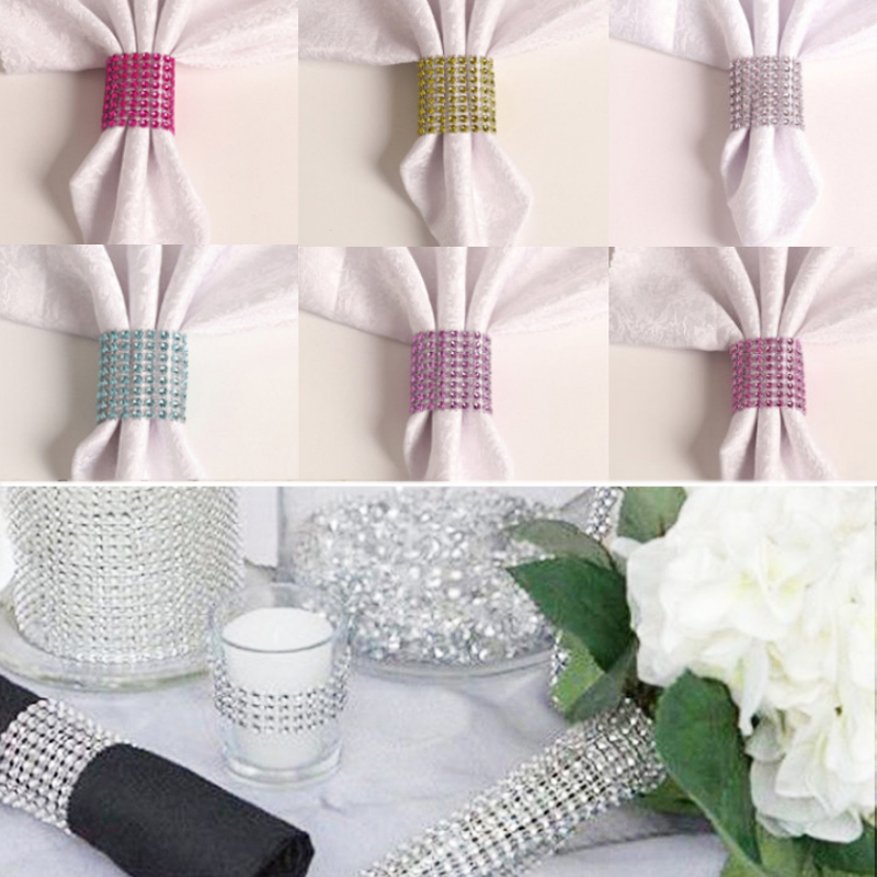 Mats & Pads Provided Chair Sashes For Wedding Rhinestone Christmas Banquet Dinner 10pcs/lot Napkin Holders Napkin Rings Table Decoration Crystal Table Decoration & Accessories