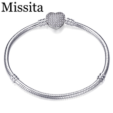 Cuteeco Pan Bracelet Authentic Silver Plated Heart Shape Snake Chain DIY Charm Bracelet & Bangle For Women Gift 2019 Hots wholesale couples silver heart shape chain design bracelet h367