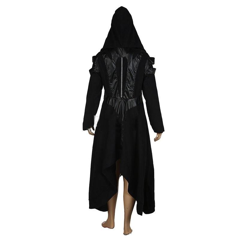 Donne Cappotto Della Nero Dell'unità Cosplay Di Chaqueta Cappuccio Elaborazione Outwear Black Con Gothic Steampunk Rappezzatura Delle Swing Del Giacca Hem Punk Irregolare Big 3j54ALR