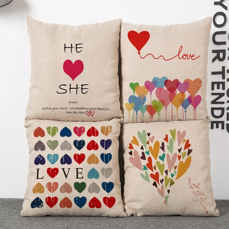 Valentine's Day gift red heart printed couch cushion cover