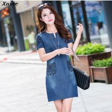 Xnxee New Women Fashion Summer Dress Plus size Casual Mini Denim Dresses Jeans Loose Short Sleeve Cotton