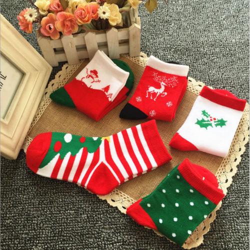 Kids Baby Girls Boys Xmas Winter Warm Cartoon Thermal Socks Christmas Gifts Toddler Infant Soft Cotton Santa Claus Deer Socks