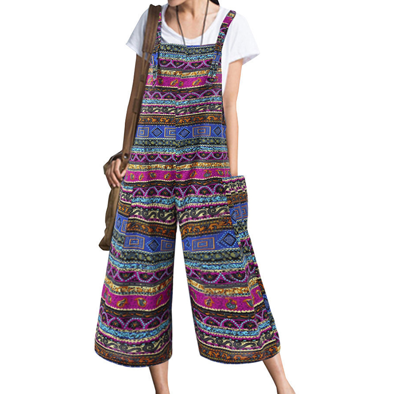 2019 Hot Sale Women   Jumpsuit   Vintage Ethnic Print Large Size Pocket Straps Cropped Trousers Summer   Jumpsuit