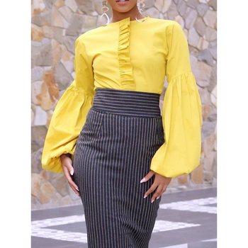 Mirsicas Long Sleeve Blouse Round Neck Elegant Bright yellow