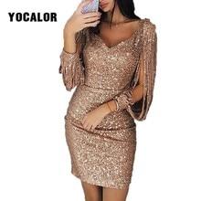 2019 Fashion Long Sleeve Tassels Summer Sundress Party Bodycon Gold Sequin  Dresses Short Skater Dress For Girl Plus Size Women dcff19027743