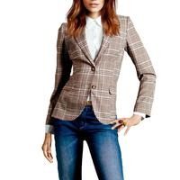 Vintage Double breasted Checkered Blazer Long Sleeve Loose Office Women's Suit Coat 2018 Autumn Jacket Women