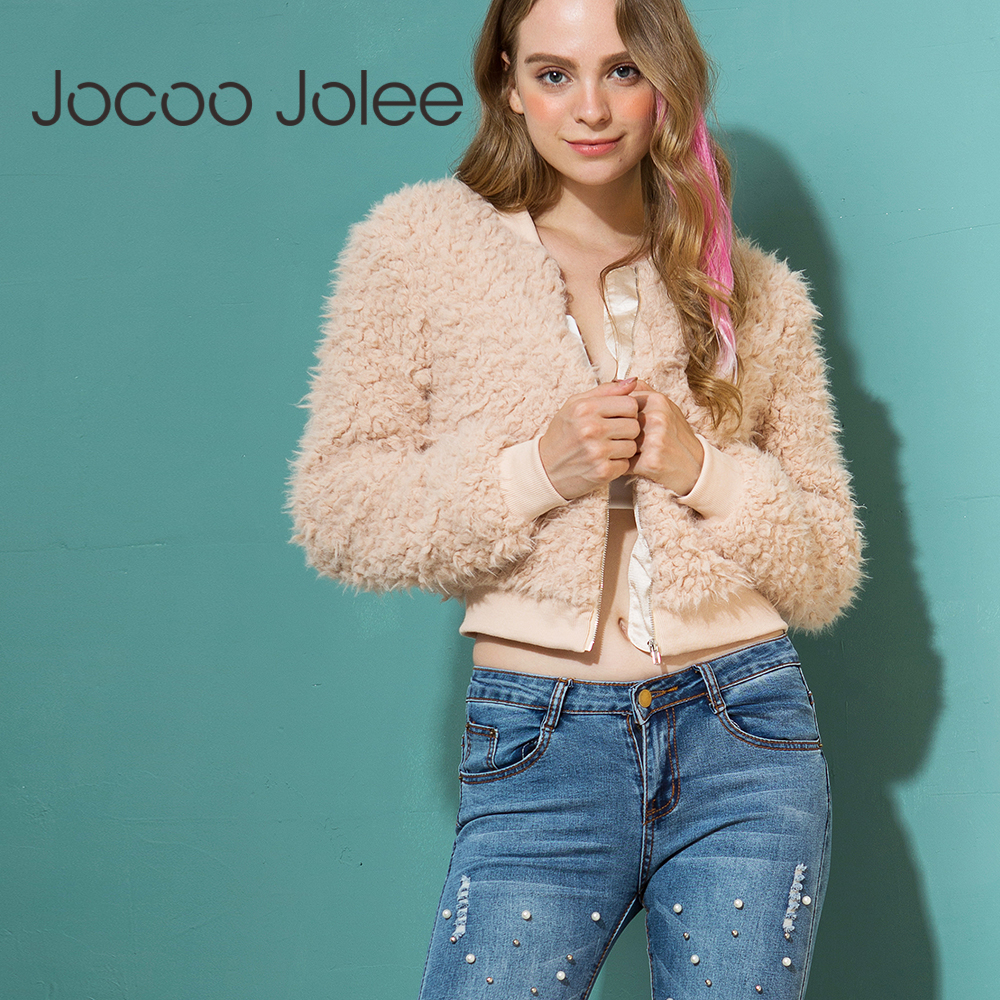 Jocoo Jolee 2018 New   Basic     Jacket   Long Sleeve Warm Hairly Casts Women Autumn Outerwear female Casual Plush Overcoat Streetwear