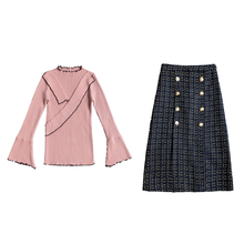 New twinset sweater skirt suits 2019 spring Korean fashion knitted women vogue suit top long buttons skirts outfit vestido S-XL
