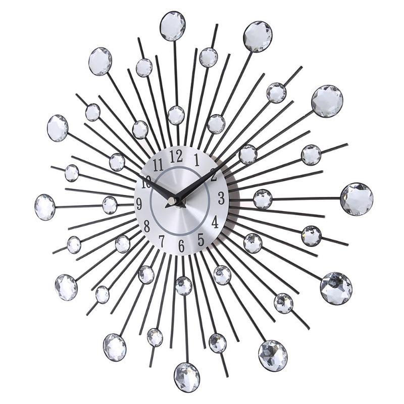 33 Cm Vintage Metal Crystal Sunburst Wandklok Luxe Diamant Grote