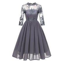 Women Midi Dresses Casual Vintage OL Chiffon Pink Sweet Embroidery Female Fashion Elegant Hollow Hot rebicoo Dress