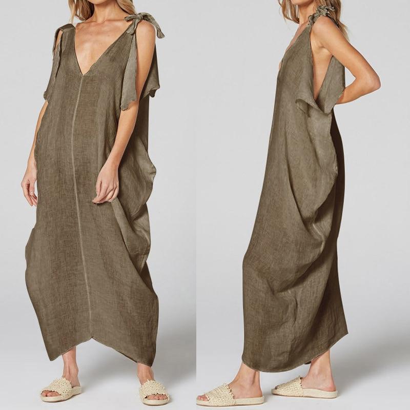 2019 Celmia Vintage Asymmetric Women Long Maxi Dress Plus Size Summer V-neck Casual Sleeveless Loose Pleated Beach Vestidos 7
