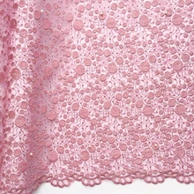 купить 2019 Latest Nigerian Dusty Pink Laces Fabrics High Quality African Laces Fabric For Wedding Dress Net White French Tulle Lace по цене 2526.44 рублей