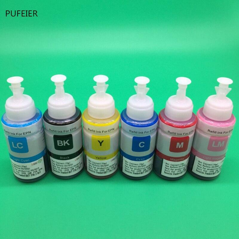 6 Bottles x 70ml T6741 T6731-T6736 Refill Water Dye Based Ink Kit For Epson L800 L801 L810 L850 L860 L1800 BK C M Y LM LC