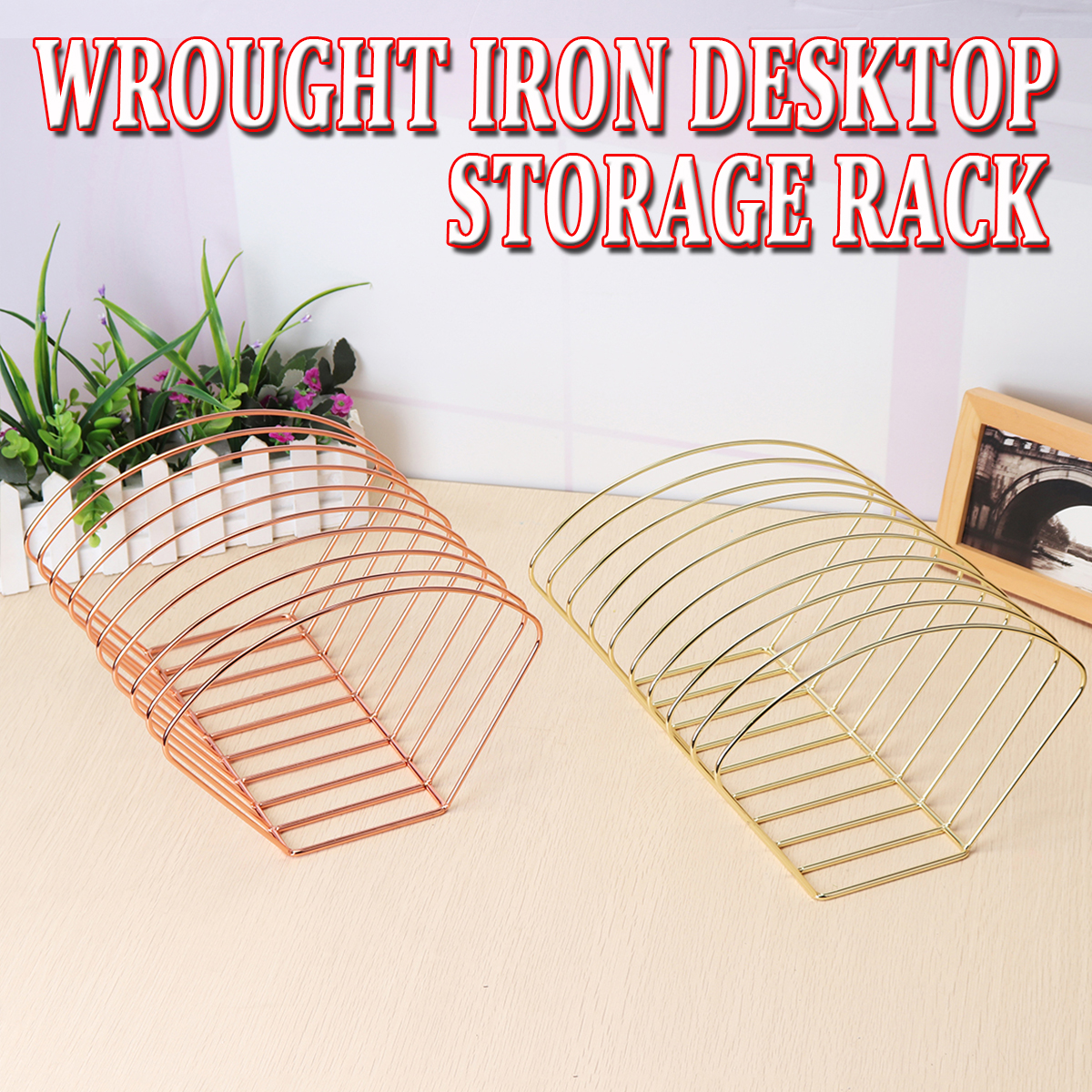 Round Simple Iron Desktop Storage Rack Shelf File Magazine Storage Box Office Rack Stationery Organizer 9 Grid Bookends