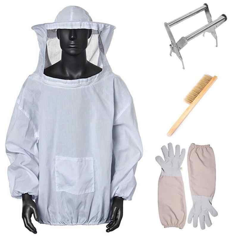4 TRONG 1 Nuôi Ong Bảo Vệ Quần Áo Áo Khoác có Che Mặt Beekeeper Áo Khoác Găng Tay Ong Tổ Ong Bàn Chải và Ong Hộp Kẹp Bộ