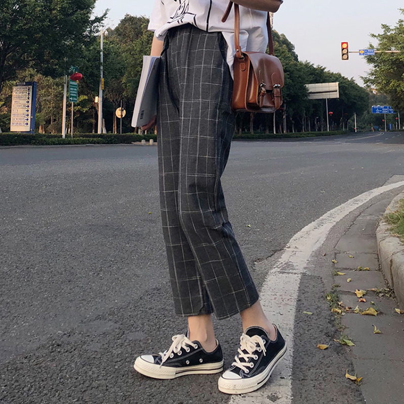 office lady style 2018 summer new fashion high pure color patchwork plaid print elastic waist drawstring long straight pants 3