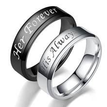 Sale 1pc Titanium Steel His Always Her Forever Couple Ring Simple Wedding Engagement Lovers Rings Valentine's Present heart style titanium steel couple lovers rings silver