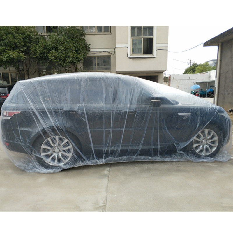 Cubierta de coche desechable impermeable de plástico transparente a prueba de polvo cubierta de lluvia de coche BY-004