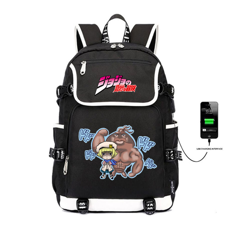 anime JoJo 39 s Bizarre Adventure backpack USB Charge student School Bags Teenagers Laptop Travel Backpack Shoulder Bags in Backpacks from Luggage amp Bags