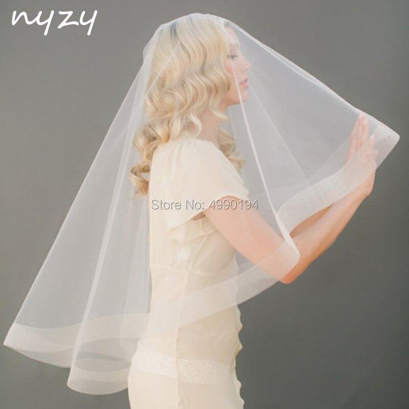 Nyzy v1 진짜 1.5 m 긴 빗 1 층 샴페인 웨딩 베일 신부 베일 웨딩 액세서리 velo novia voile mariage 2019