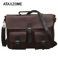 ATAXZOME new men's business briefcase quality PU leather bag fashion design 14 inch men's bag for brown men's gift YZ6398