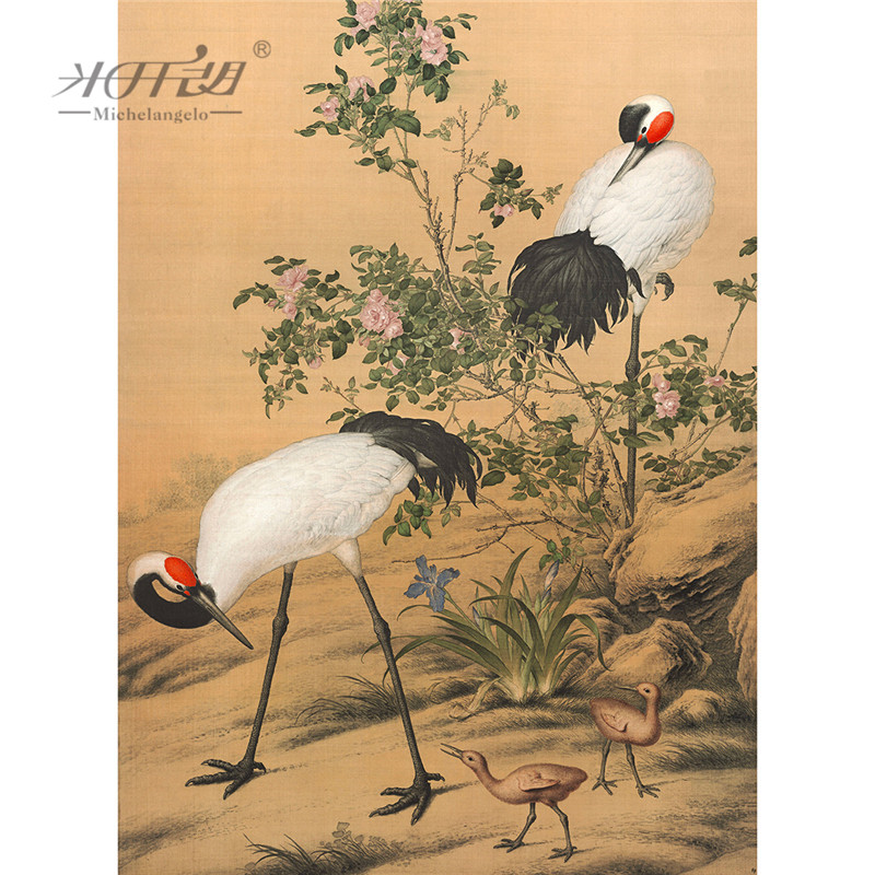 Michelangelo Wooden Jigsaw Puzzles 500 1000 Piece Giuseppe Castiglione Red-crowned Cranes Chinese Painting Educational Toy Decor
