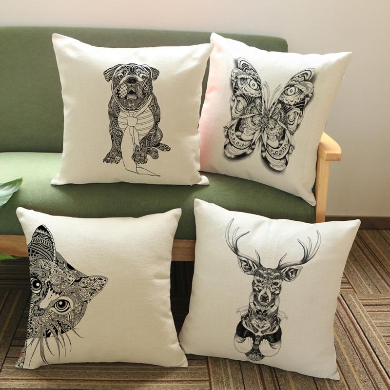 Creative Cartoon Cojines Car Couch Cushion Handsome Cat Dog Nap Pillow Washable Waist Decorative Pillows Cute Seat Beige Cushion