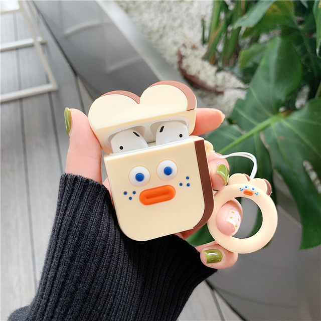 Case for Airpods 2 Cute Accessories Bluetooth Earphone Protective cover for airpods Silicone with Ring Strap Cartoon Brunch