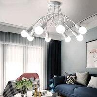 מודרני נורדי סלון LED זהב ברזל נברשת. אוכל חדר שינה תקרת תאורת לילה אור. המחקר מעטר dropligh-באורות תלויים מתוך פנסים ותאורה באתר