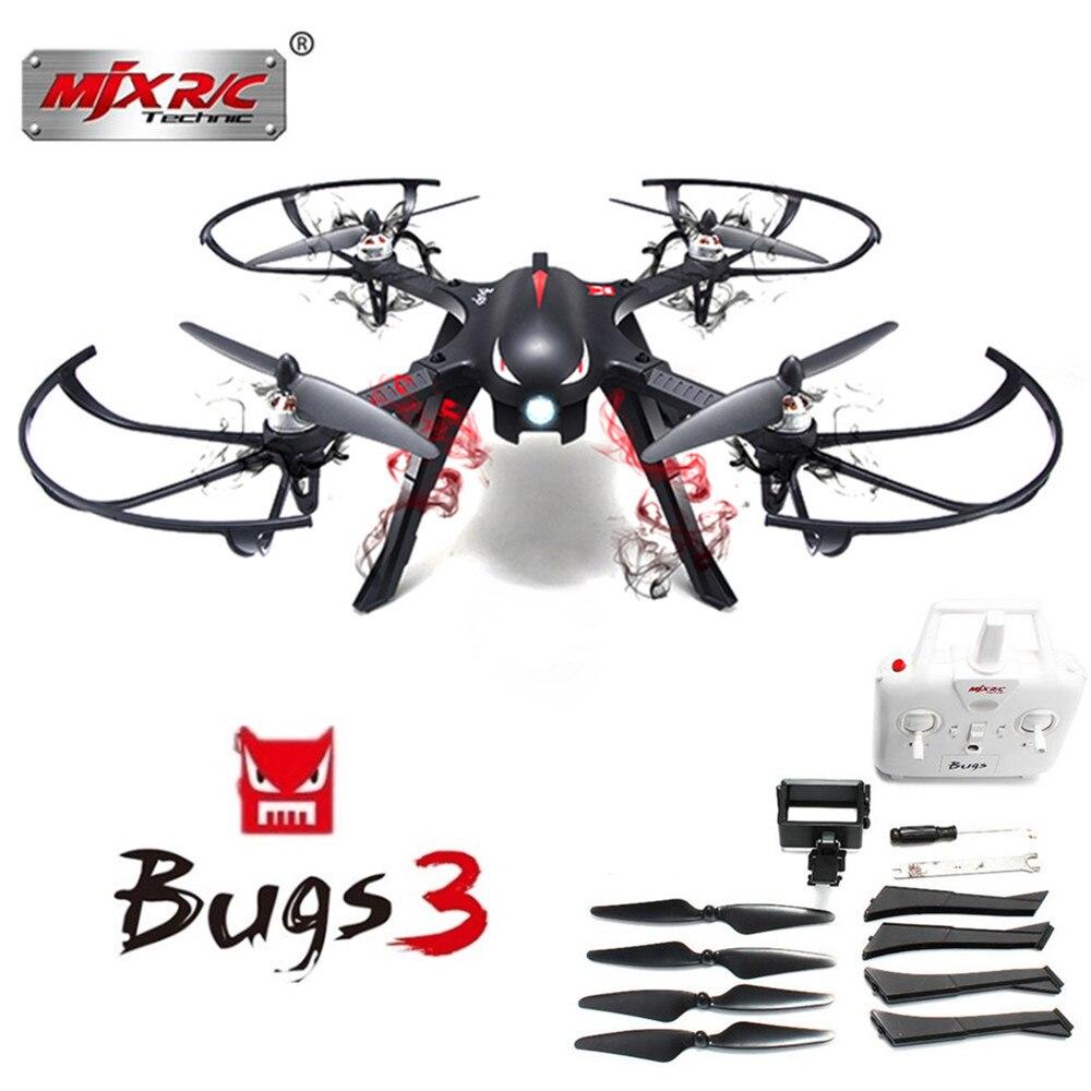 MJX B3 Bugs 3 RC Drone quadrirotor RTF moteur sans balai bidirectionnel Mini Drone 2.4 GHz 4CH avec support de caméra d'action pour caméra Gopro